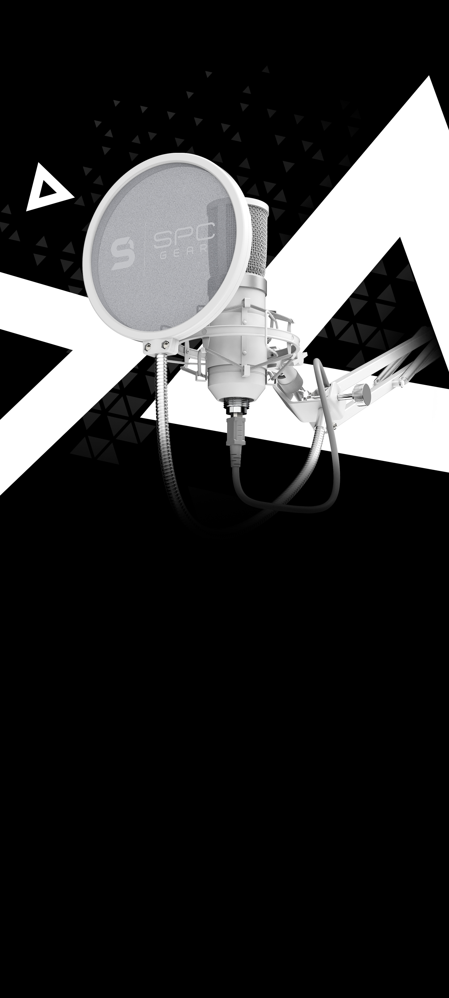 SPC Gear SM950 Onyx White Streaming USB Microphone